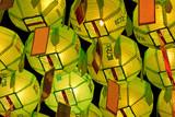 Glowing green lanterns on Buddha's birthday in night