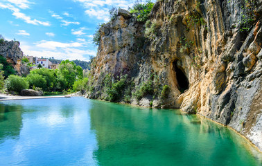 Bolbaite River and Waterfall, Near Ontinyent, Valencia, Spain