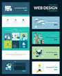 One page website design template, set of flat design banners