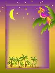frame with parrot illustration