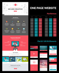 One page website design template, ux/ui kit and buttons