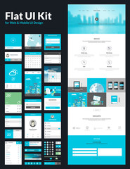 One page website design template, flat UI kit