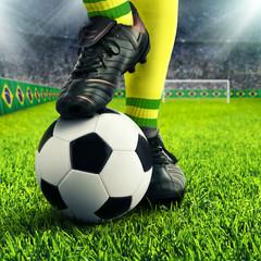 Füße eines brasilianischen Fußballers