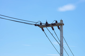 Energy and technology: electrical post by the road