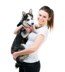 happy young girl and dog Husky