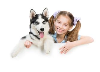happy little girl and dog Husky