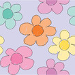 Colorful sketchy flowers seamless pattern