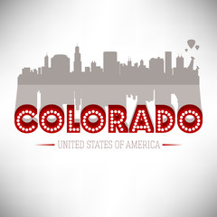 Colorado USA skyline silhouette vector design.