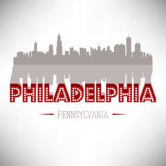 Philadelphia USA skyline silhouette vector design.