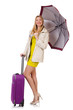 Woman with suitcase and umbrella isolated on white