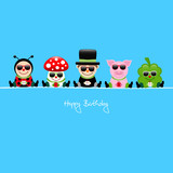 Birthday Card 5 Cartoons Sunglasses Gifts Blue