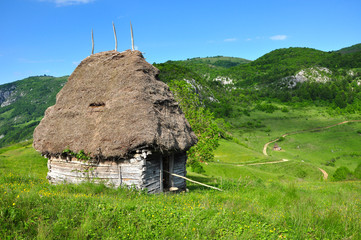 Wooden stable with thatched roof