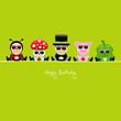 Birthday Card 5 Cartoons Sunglasses Gifts Green