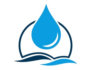 logo water drop and blue symbol icon sign