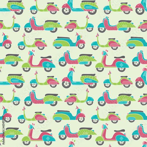 Bikes seamless pattern - 65411399