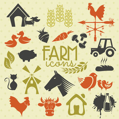 Farm icons and labels