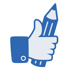 i like, like button, pencil in hand