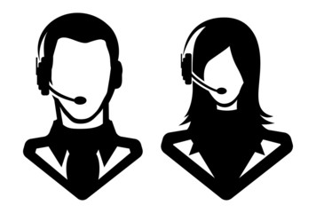 Man and woman call center icons