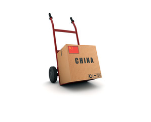 china - scatolone su carrello