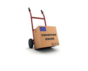 european union - scatolone su carrello
