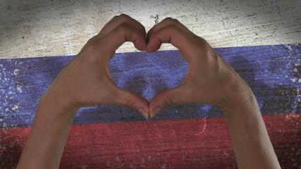 Hands Heart Symbol Russian Flag