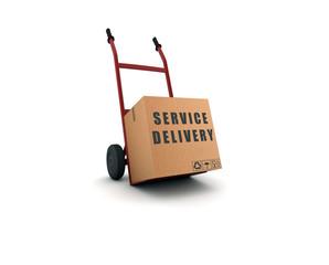 service delivery - scatolone su carrello