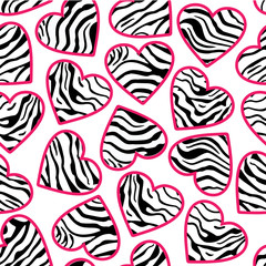 Zebra print hearts seamless background pink outline