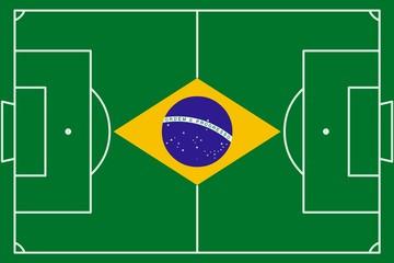 Terrain de football couleurs Brésil