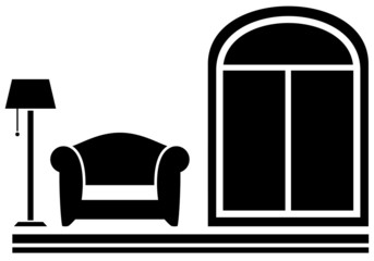 interior icon with armchair, floor lamp and window