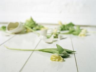 Zerbrochene Vase und Blumen auf dem Boden