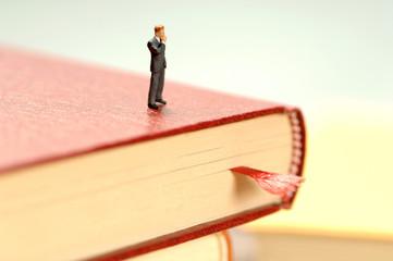 Figur eines Menschen auf Buch