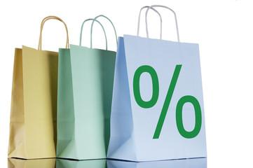 Einkaufstaschen mit Prozent-Zeichen