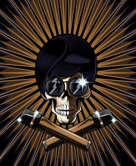 Pop star skull vector illustration