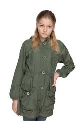 Fashion preteen girl in the jacket