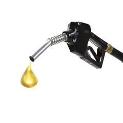 Tanken, Zapfhahn und ein Tropfen Benzin