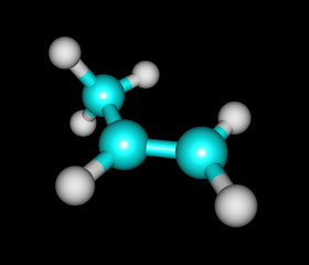 Propene (propylene) molecular structure on black background