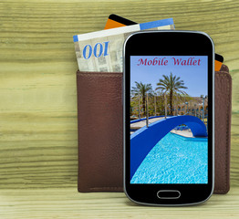 Mobile devise with wallet, money and credit card