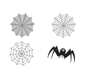 Set of silhouette spider and web