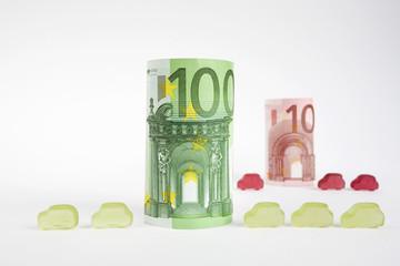 gerollte Geldscheine, Banknoten