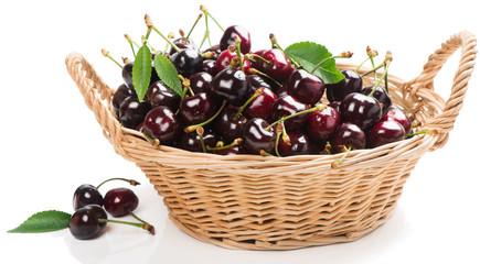 Black cherries with leaves
