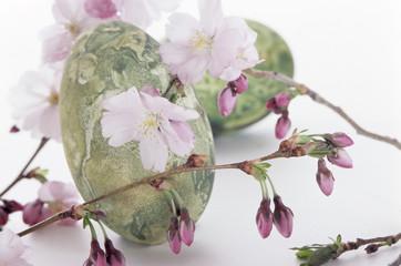 Ostereier mit Kirschblüten