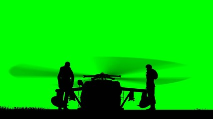 Black Hawk Helicopter Rising on green screen