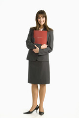 Geschäftsfrau stehen, mit Datei, Lächeln, Portrait