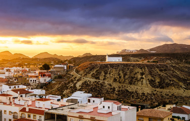 View of Church in Turre near Mojacar, Almeria, Andalusia, Spain