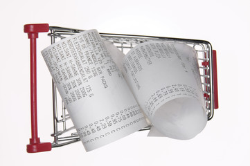 Rechnung im Warenkorb Einkaufswagen