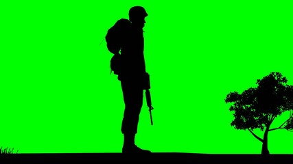 Soldiers Silhouette - green screen