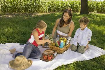 Mutter mit Tochter und Sohn beim Picknick