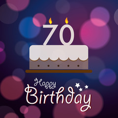 Happy 70th Birthday - Bokeh Vector Background with cake