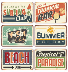 Summer holiday vintage sign boards collection