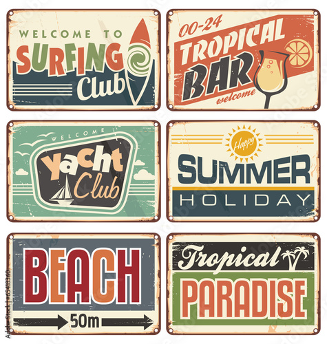 Summer holiday vintage sign boards collection - 65418360